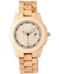 Earth Wood - Heartwood Wood Bracelet Watch W/date Khaki 43mm - Lyst