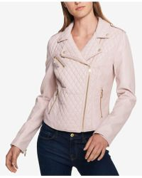 Tommy Hilfiger Quilted Faux-leather Moto Jacket, Created For Macy's - Pink