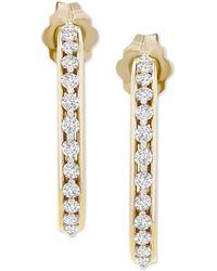 """Macy's Diamond Small Hoop Earrings (1/4 Ct. T.w.) In 10k Gold, .71"""" - Metallic"""