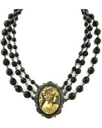 """2028 - Black-tone And Gold-tone Triple Strand Cameo Necklace 16"""" Adjustable - Lyst"""