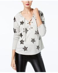 INC International Concepts Sequin-star Hoodie - Grey