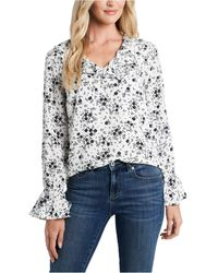 Cece - Floral-print Ruffled Blouse - Lyst