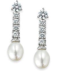 Arabella - Cultured Freshwater Pearl (8mm) And Swarovski Zirconia (3-5/8 Ct. T.w.) Drop Earrings In Sterling Silver - Lyst