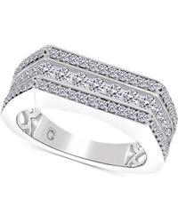 Macy's Men's Diamond Row Cluster Ring (1-1/2 Ct. T.w.) In 10k White Gold - Metallic