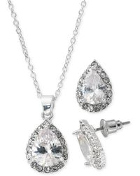 "Macy's Fine Silver Plate Cubic Zirconia Teardrop Necklace And Stud Earring Set, 18"" + 3"" Extender - Metallic"