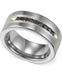 Triton - Men's Tungsten And Sterling Silver Ring, Channel-set Black Diamond Accent Wedding Band - Lyst