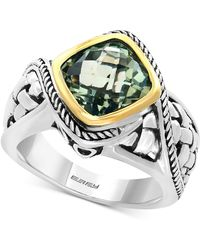 Effy Collection - Green Amethyst Ring (3-1/10 Ct. T.w.) In Sterling Silver And 18k Gold - Lyst