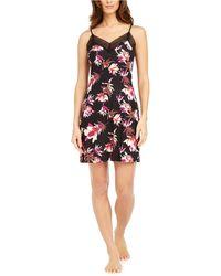 Sesoire Floral-print Lace Chemise Nightgown - Black