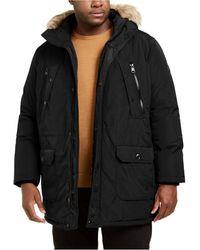 Calvin Klein Big & Tall Long Snorkel Coat With Faux-fur Trimmed Hood - Black