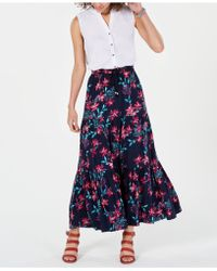 Style & Co. Cotton Floral-print Tiered Skirt, Created For Macy's - Blue