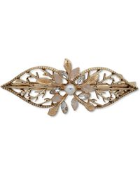 Lonna & Lilly Gold-tone Crystal & Imitation Pearl Filigree Leaf Hair Barrette - White