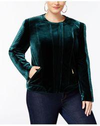 INC International Concepts - Plus Size Velvet Biker Jacket - Lyst