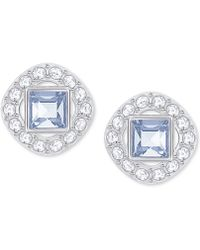 Swarovski - Square Crystal Halo Stud Earrings - Lyst