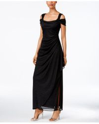 Alex Evenings - Cold-shoulder Draped Metallic Petite Gown - Lyst
