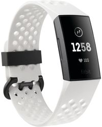 Fitbit - Charge 3 Unisex Interchangeable White & Black Silicone Strap Touchscreen Smart Watch 22.7mm - A Special Edition - Lyst
