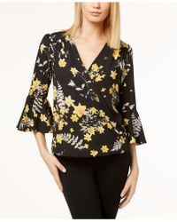 INC International Concepts - Petite Printed Surplice Bell-sleeve Top, Created For Macy's - Lyst