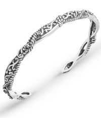 Carolyn Pollack Scroll Rope Narrow Cuff In Sterling Silver - Metallic