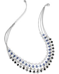 INC International Concepts - Necklace, Silver-tone Multi-color Bead Four-row Necklace - Lyst