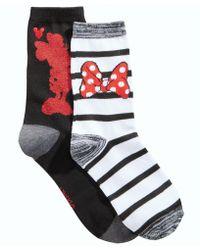Disney Women's 2-pk. Boxed Minnie Mouse Crew Socks - Black