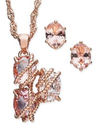 """Charter Club - Rose Gold-tone Wrapped Crystal Pendant Necklace & Stud Earrings Set, 15"""" + 3"""" Extender, Created For Macy's - Lyst"""