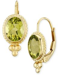 Macy's Gemstone Twist Gallery Drop Earring In 14k Yellow Gold Available In Amethyst, Blue Topaz, Citrine, Garnet Or Peridot - Multicolour