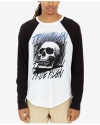 True Religion - Airbrushed Skull Logo-print Raglan-sleeve T-shirt - Lyst