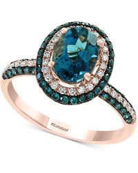 Effy Collection Effy® London Blue Topaz (1-1/2 Ct. T.w.) & Diamond (1/2 Ct. T.w.) Ring In 14k Rose Gold