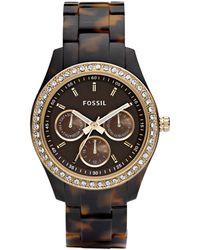 Fossil - Stella Tortoise Resin Bracelet Watch 37mm Es2795 - Lyst