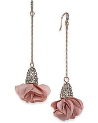INC International Concepts Inc Fabric-flower Drop Earrings, Created For Macy's - Multicolor
