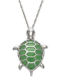 Macy's - Dyed Jade Turtle Pendant Necklace In Sterling Silver - Lyst