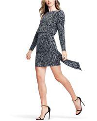Aidan By Aidan Mattox - Puff-sleeve Metallic Knit Sheath Dress - Lyst