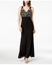 Betsy & Adam - Multi-beaded Lace Gown - Lyst