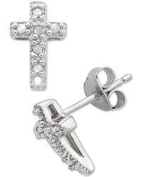 Macy's - Diamond Cross Stud Earrings (1/10 Ct. T.w.) In Sterling Silver - Lyst