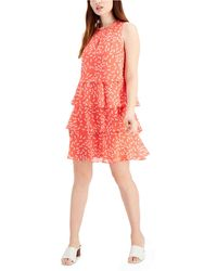 Nine West Printed-chiffon Tiered A-line Dress - Multicolor