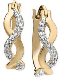 Macy's - Diamond Infinity Earrings In 18k Gold And Sterling Silver (1/10 Ct. T.w.) - Lyst