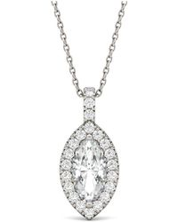 Charles & Colvard - Moissanite Marquise Halo Pendant (1-1/3 Ct. Tw.) In 14k White Gold - Lyst