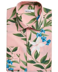 Bar Iii Slim-fit Tropical Floral-print Dress Shirt, Created For Macy's - Pink