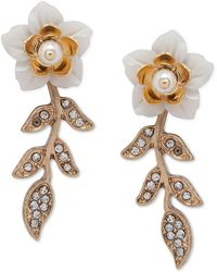 Lonna & Lilly Gold-tone Pavé & Imitation Pearl Flower Linear Drop Earrings - White
