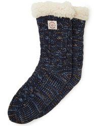 Dearfoams Space-dye Cable Knit Blizzard Slipper Sock, Online Only - Blue