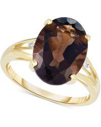 Macy's - Smoky Quartz (4-1/2 Ct. T.w.) & Diamond Accent Ring In 14k Gold - Lyst