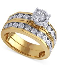 Beautiful Beginnings - Diamond Engagement Ring And Wedding Band (1/3 Ct. T.w.) In 14k Gold And White Gold - Lyst