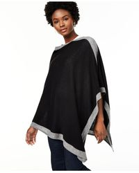 Charter Club Cashmere Border Poncho, Created For Macy's - Black