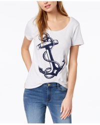 c436fb05acf Lyst - Tommy Hilfiger Plus Size Anchor-print T-shirt in White