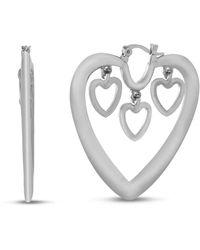 Kensie Dangle Heart Hoop Wire Earring - Metallic