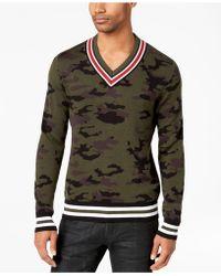 American Rag - Camo V-neck Varsity Sweater, Created For Macy's - Lyst