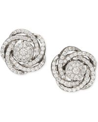 Wrapped in Love - Diamond Earrings, 14k White Gold Diamond Pave Knot Earrings (1 Ct. T.w.) - Lyst