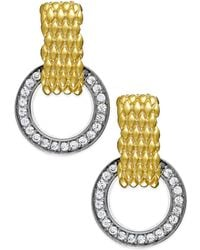 Macy's - Diamond Mesh Circle Drop Earrings In 22k Yellow Gold Vermeil Over Sterling Silver And Sterling Silver - Lyst