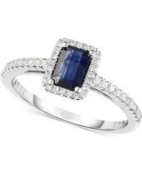 Macy's - Sapphire (5/8 Ct. T.w.) & Diamond (1/8 Ct. T.w.) Ring In 14k White Gold - Lyst
