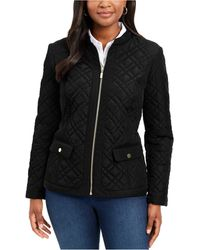 Charter Club Quilted Mandarin-collar Jacket, Created For Macy's - Black