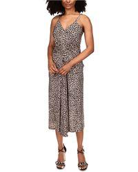 Michael Kors Michael Cheetah-print Chain-strap Dress - Brown